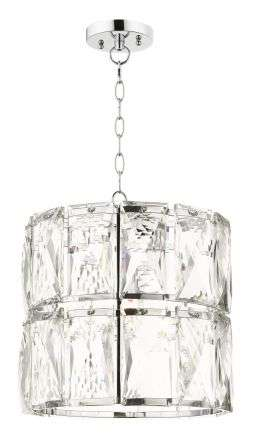 Aurora 1 Light Crystal Pendant Polished Chrome