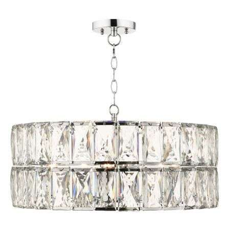 Aurora 5 Light Crystal Pendant Polished Chrome