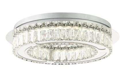 Aurora LED Bathroom Flush Light Polished Chrome IP44