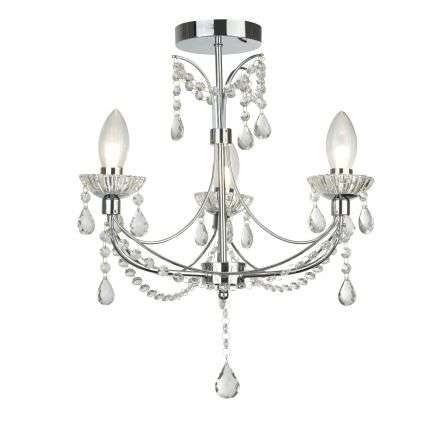 Autumn 3 Light Bathroom Chandalier Chrome With Crystal Glass