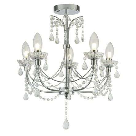 Autumn 5 Light Bathroom Chandalier Chrome With Crystal Glass
