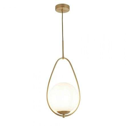 Avalon Single Ball Pendant Gold With Opal Glass