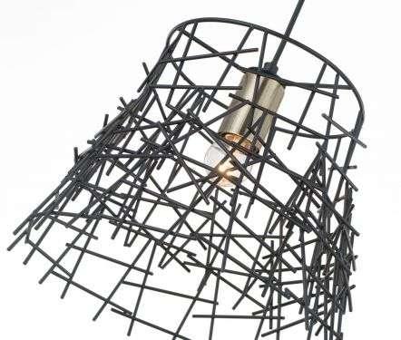 Bambu 1 Light Black Metal Pendant Antique Brass