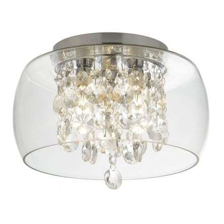 Bathroom Clear Glass Shade 3 Light Fluh With Crystal Drops