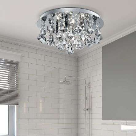 Bathroom IP44 4 Light Crystal Ceiling Flush with Pyramid Crystal Drops