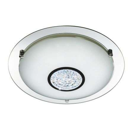 Bathroom IP44 LED Flush 310mm Chrome Mirror Halo