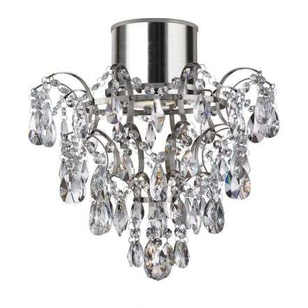 Bathroom IP44 Semi Flush Chandlier with Crystal Droplets