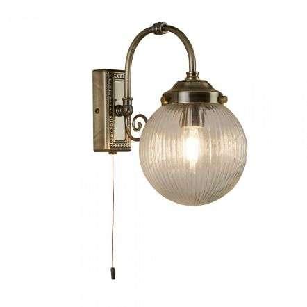 Belvue Single Antique Brass Bathroom Ip44 Wall Light