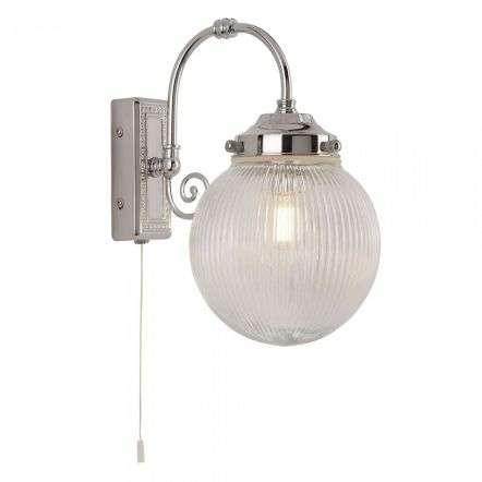 Belvue Single Bathroom Ip44 Wall Light Clear Globe Shade