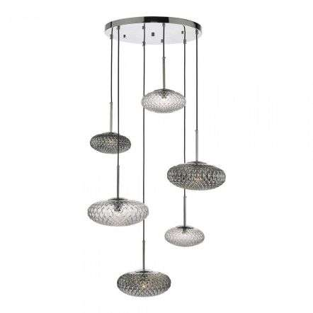 Bibiana 6 Light Cluster Pendant Clear & Smoked Glass Polished Chrome