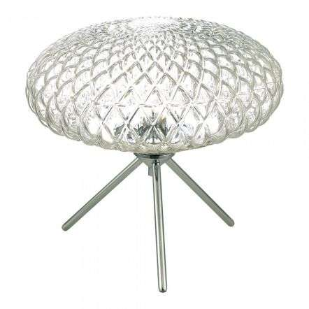 Bibiana Table Lamp Polished Chrome with Clear Glass Large