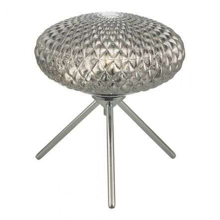 Bibiana Table Lamp Polished Chrome with Smoked Glass Small
