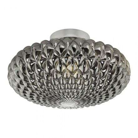 Bibiana Wall/Ceiling Light Polished Chrome Smoked Glass Large