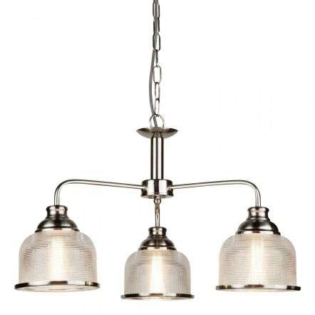 Bistro II 3 Light Ceiling Satin Silver With Halophane Glass