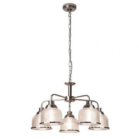 Bistro II 5 Light Ceiling Satin Silver With Halophane Glass