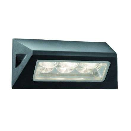 Black Ip44 3Led Outdoor Oblong Wall Light With White Led