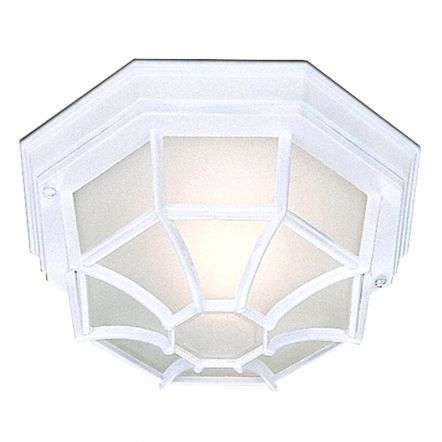 Black IP44 Hexagonal Flush Outdoor with White Sanded Glass*COPY*