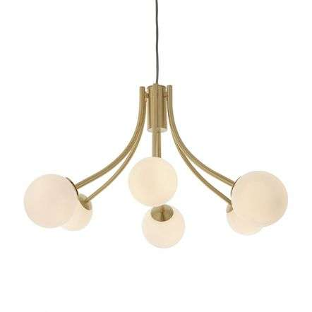 Bloom 6 Light Pendant in Gold with Opal Glass