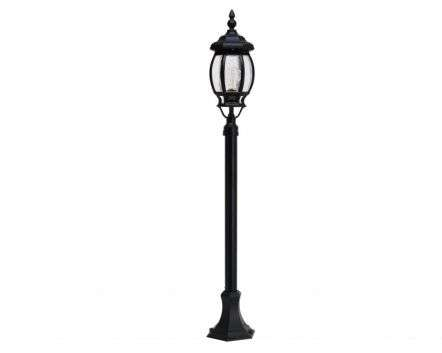 Boston 6-Round Panel Medium Height Post Lantern Black