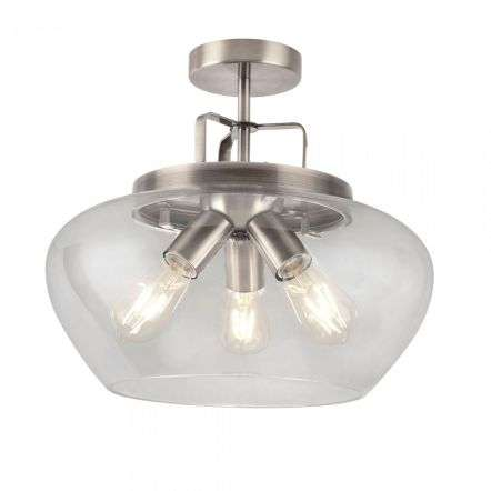 Boule 3 Light Semi Flush Satin Silver with Clear Glass