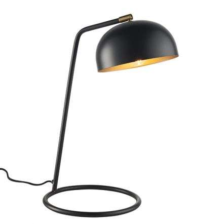 Brair Matt Black Table Lamp with Antique Brass Detail