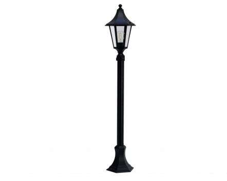 Burney  Small 6-Sided Medium Height Post Lantern Black