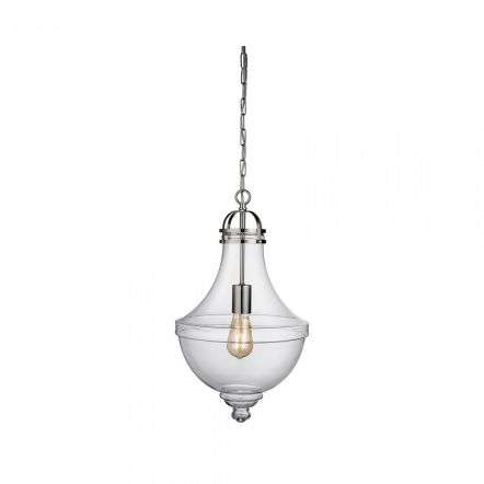 Cairo Single Pendant Satin Silver with Clear Glass