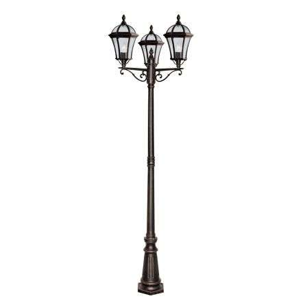 Capri Rustic Brown 3 Light Outdoor Post With Bevelled Glass IP44