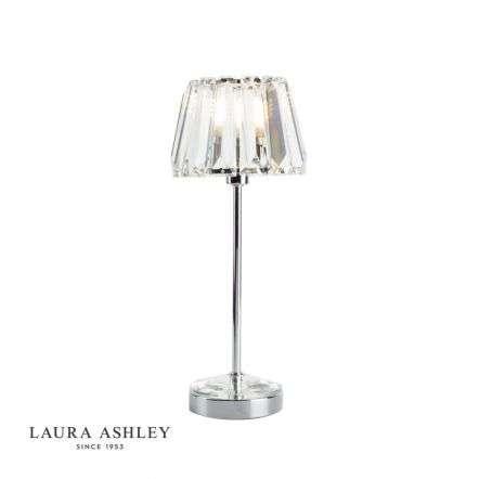 Capri Small Table Lamp Polished Chrome Crystal Glass Shade