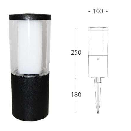 Carlo 250 mm Black Clear LED 3.5W Bollard Spike Light