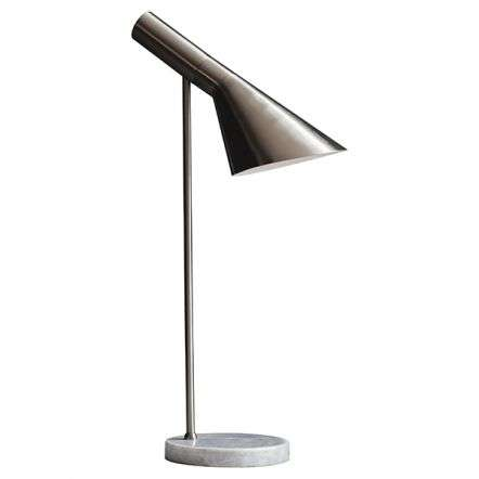 Carlo Brushed Chrome Table Lamp with Marble Base
