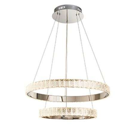 Celeste Crystal Ceiling Pendant 2 Rings in Cool White
