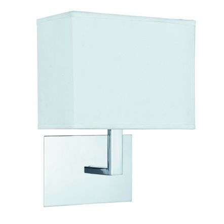 Chrome Wall Light with White Rectangular Fabric Shade