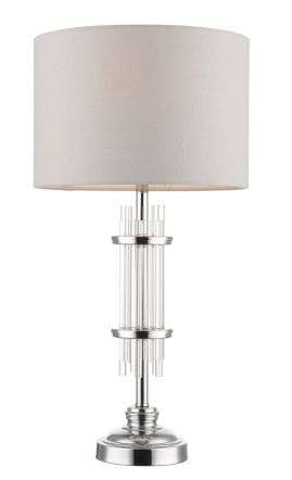 Chrysler Polished Chrome and Crystal Table Lamp c/w Shade