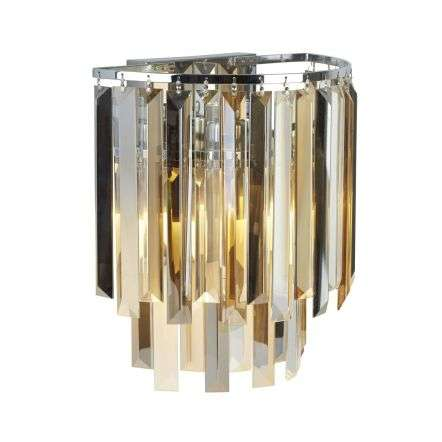 Clarissa 2 Light Chrome Wall Bracket Amber Smoked Crystal