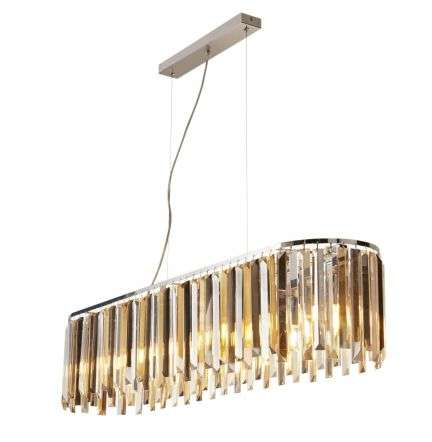 Clarissa 8 Light Pendant Bar Chrome With Amber and Smokey Crystal