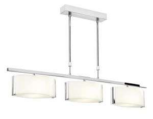 Clef 3-Light Polished Chrome And Frosted Glass Pendant