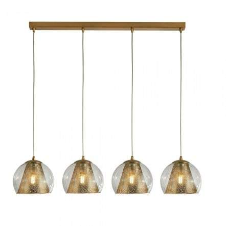 Conio 4 Light Pendant Satin Brass And Clear Glass
