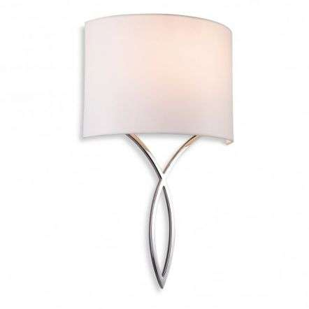 Conrad Single Light Wall Fitting In Polished Chrome With Cream Shade