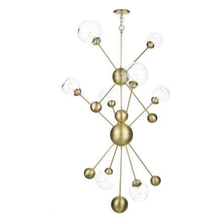 Cosmos 8 Light Pendant in Butter Brass