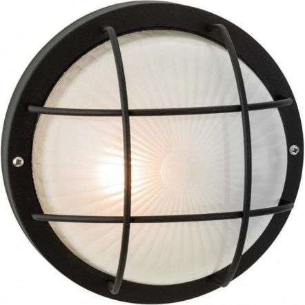 Court Single Outdoor Wall/Ceiling Light Black with Frosted Glass