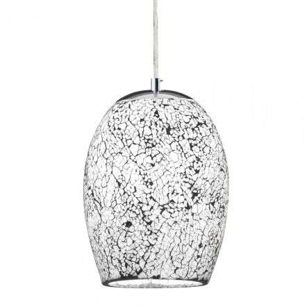 Crackle White Mosaic Glass Dome Fitting with Satin Silver Trim