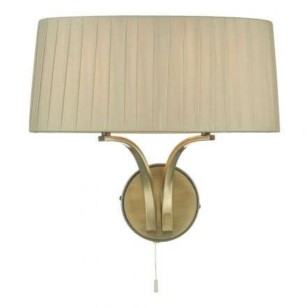 Cristin 2 Light Wall Light Antique Brass With Taupe Shade