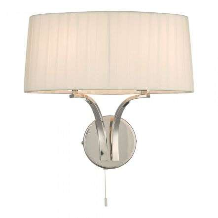 Cristin 2 Light Wall Light Polished Nickel With Ivory Shade