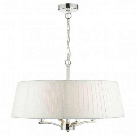 Cristin 4lt Pendant Polished Nickel C/W Ivory Ribbon Shade | Online Lighting Shop