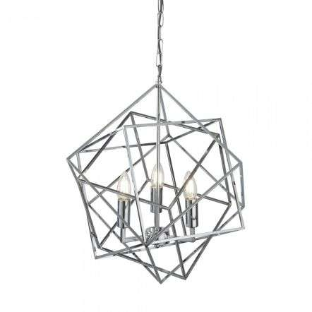 Cube 3 Light Geometric Cube Pendant Chrome
