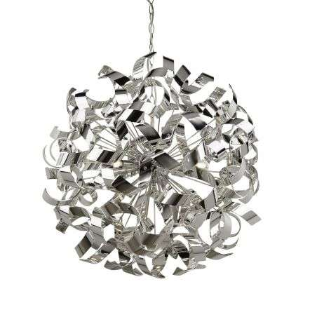 Curls 6 Light Chrome Pendant