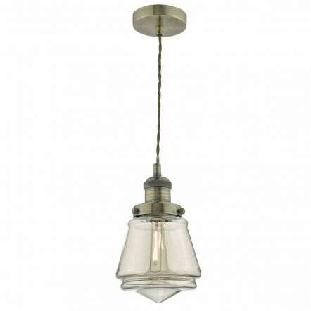 Curtis 1lt Pendant Antique Brass & Champagne Glass