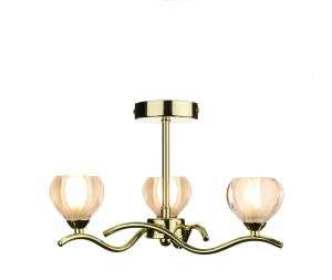 Cynthia 3-Light Polished Brass Semi-Flush Fitting
