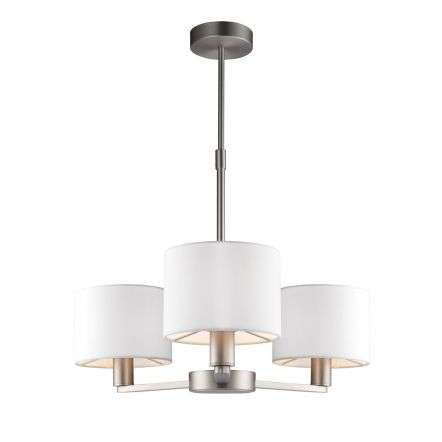 Daley 3 Light Multi Arm Pendant in Nickel C/W White Shades